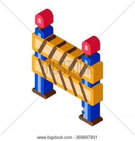 Road Barrier Icon Vector. Isometric Road Barrier Sign. Color Isolated Symbol Illustration