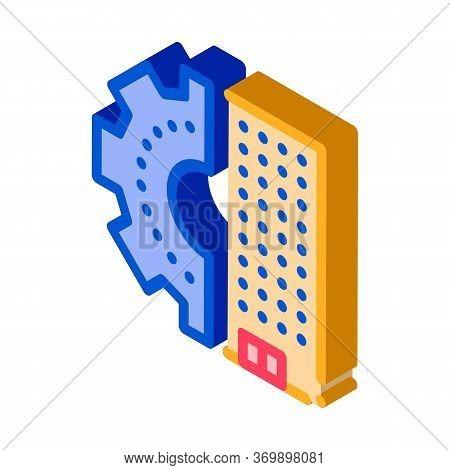 Skyscraper Gear Icon Vector. Isometric Skyscraper Gear Sign. Color Isolated Symbol Illustration