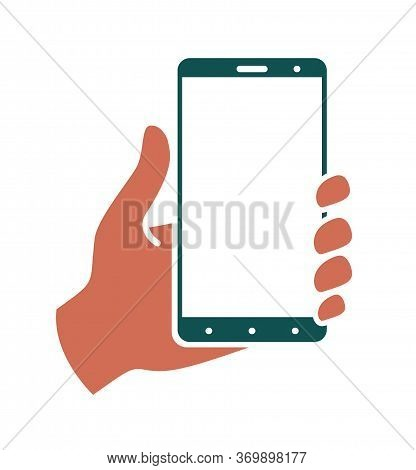 Hand Holds Smartphone Upright On A White Background. Colored Template