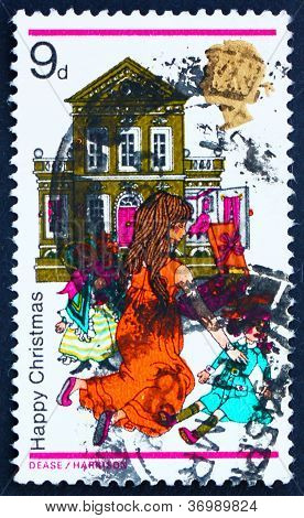Postage Stamp Gb 1968 Girl Playing With Dolls And Dollhouse