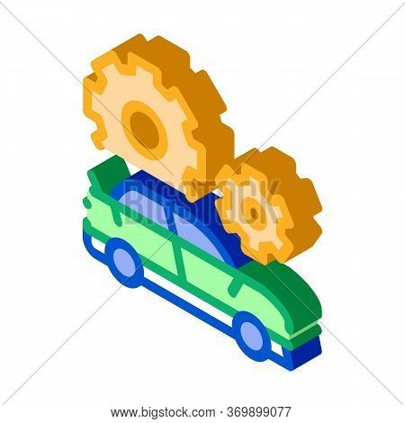 Car Gear Detail Icon Vector. Isometric Car Gear Detail Sign. Color Isolated Symbol Illustration