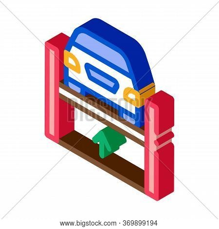 Car Lifting Icon Vector. Isometric Car Lifting Sign. Color Isolated Symbol Illustration