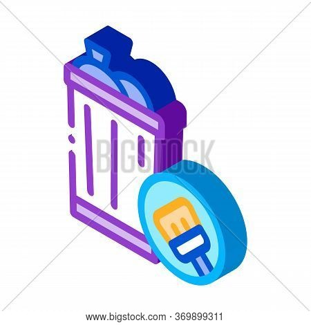 Rubbish Trash Can Icon Vector. Isometric Rubbish Trash Can Sign. Color Isolated Symbol Illustration