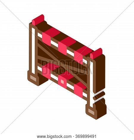 Sportive Barrier Icon Vector. Isometric Sportive Barrier Sign. Color Isolated Symbol Illustration