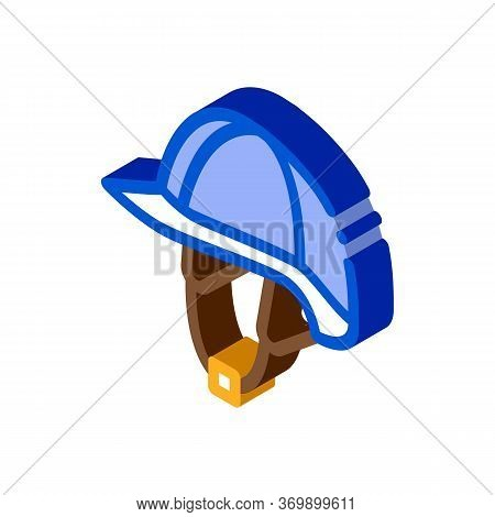 Jockey Helmet Icon Vector. Isometric Jockey Helmet Sign. Color Isolated Symbol Illustration