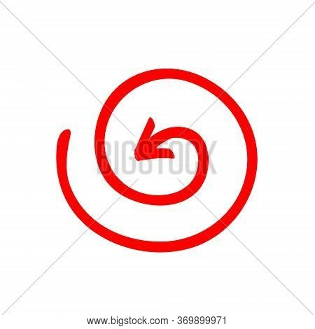 Red Arrow Vortex Sign, Inside Direction, And Icon For Website Button Helix. Business Decoration Isol