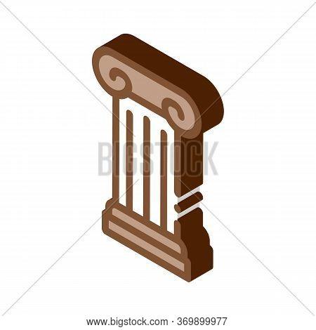 Antique Column Icon Vector. Isometric Antique Column Sign. Color Isolated Symbol Illustration