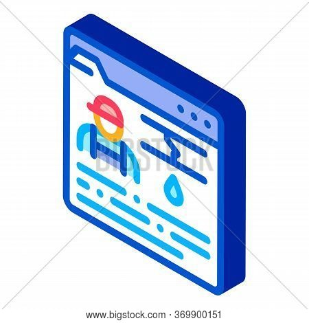 Plumber Web Site Icon Vector. Isometric Plumber Web Site Sign. Color Isolated Symbol Illustration