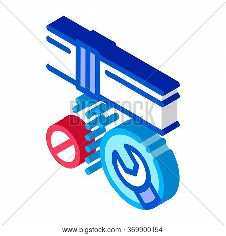 Pipe Punch Fix Icon Vector. Isometric Pipe Punch Fix Sign. Color Isolated Symbol Illustration