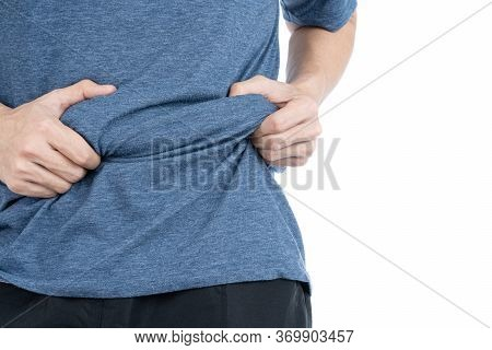 Fat Man Holding Excessive Fat Belly, Overweight Fatty Belly Isolated On Over White Background. Diet