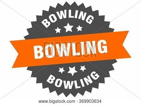 Bowling Sign. Bowling Circular Band Label. Round Bowling Sticker