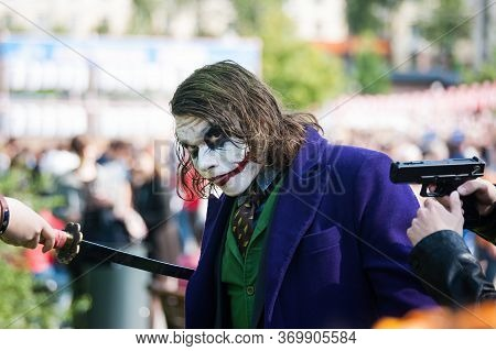 Russia, Moscow-july 21, 2019: J-fest Festival Of Japanese Culture, Cosplay Of The Joker With A Sword