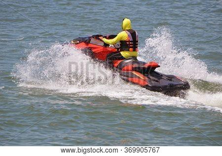 Jetski Rider Off Miami Beach On The Florida Intra-coastal Waterway.