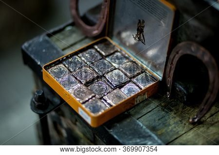 Ancient Coins. Chasing. Minting Coins For Tourists In Kazan. Coin One Kui