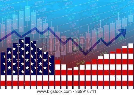 3d Rendering Of United States Flag On Bar Chart Concept Of Economic Recovery With Stock Market Down