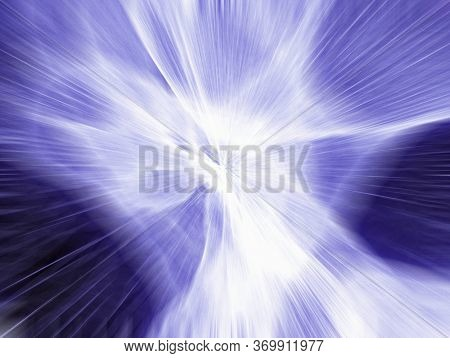 Blue Luminous Flux. Abstract Fractal Light Background. Warp Speed Concept. 3d Illustration