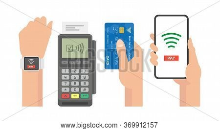 Contactless Payment Concept. Pos Terminal Confirms The Payment By Smartphone, Credit Card, Smart Wat