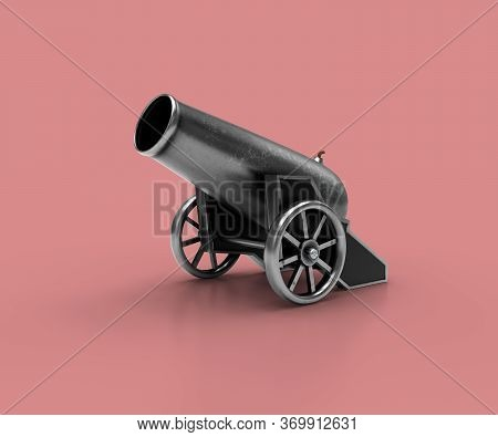 Ancient Cannon. 3d Illustration Of Vintage Cannon On A Pink Background. Medieval Weapons For Your De