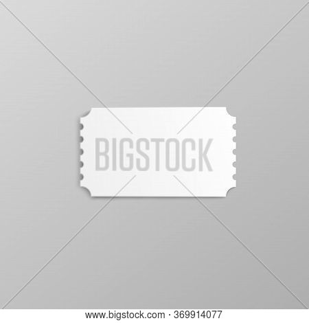 Blank White Movie Ticket Stub Mockup With Ripped Edges