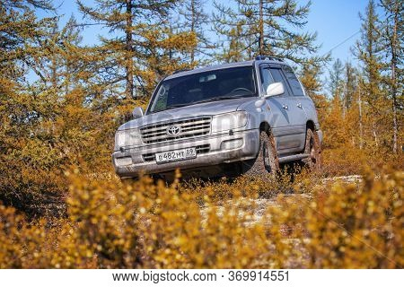 Novyy Urengoy, Russia - June 4, 2020: Offroad Car Toyota Land Cruiser 100 At The Countryside.