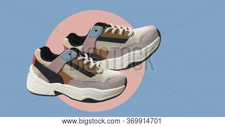 White Platform Sneakers With Bright Color Accents Pattern On Blue Background. Close View Of Fashion