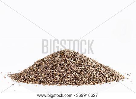 Organic Chia Seeds - Salvia Hispanica. White Background