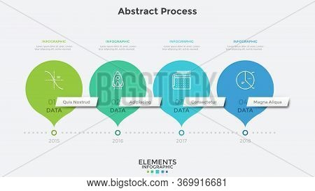 Horizontal Timeline With 4 Round Pointer-like Elements. Concept Of Four Milestones Of Companys Devel