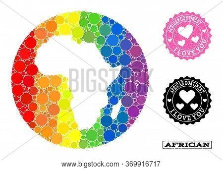 Vector Mosaic Lgbt Map Of Africa With Round Blots, And Love Rubber Seal. Stencil Circle Map Of Afric