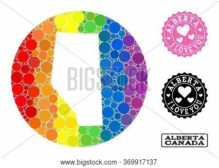 Vector Mosaic Lgbt Map Of Alberta Province Of Round Dots, And Love Grunge Seal Stamp. Stencil Round