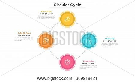 Round Chart With 4 Colorful Circular Elements Connected By Lines, Linear Pictograms And Text Boxes.