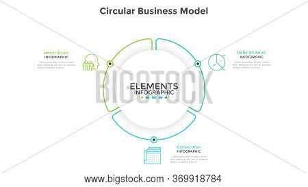 Round Paper White Pie Chart Divided Into 3 Parts Or Sectors. Circular Business Model With Three Opti
