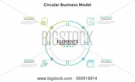 Round Paper White Pie Chart Divided Into 4 Parts Or Sectors. Circular Business Model With Four Optio