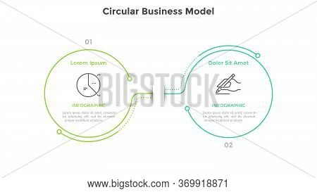 Modern Business Model With Pair Of Connected Round Elements. Concept Of Infinite Process Or Cycle. L