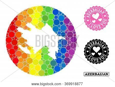 Vector Mosaic Lgbt Map Of Azerbaijan With Circle Elements, And Love Grunge Seal Stamp. Subtraction R