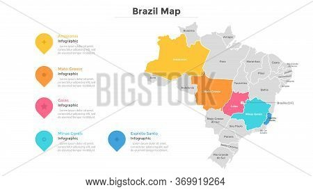 Brazil Map Divided Into Provinces Or Regions With Modern Borders. Geographic Location Indication. In