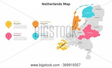 Netherlands Map Divided Into Regions Or Provinces. Territory Of Country With Regional Borders. Infog