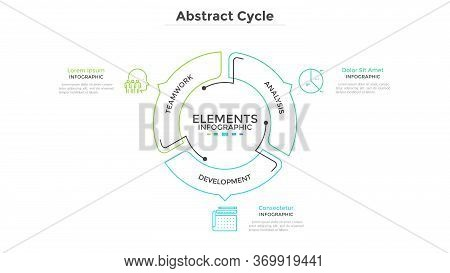 Abstract Pie Chart Divided Into 3 Sectors With Arrows Or Pointers. Three Steps Of Startup Project De