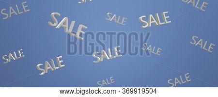 Sale Banner. 3d Image Sale On A Dark Blue Background. Sale Concept.