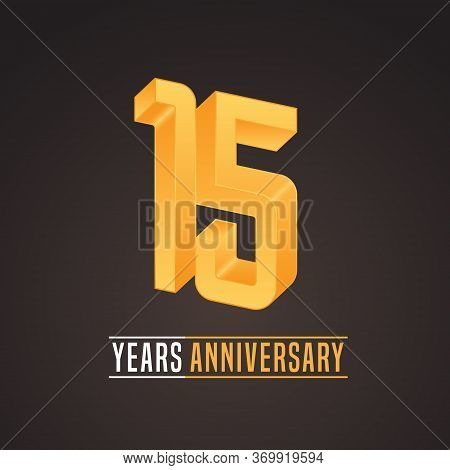 15 Years Anniversary Vector Icon, Logo. Isolated Graphic Number For 15th Anniversary