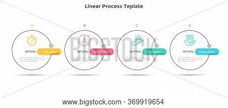 Four Circles Placed In Horizontal Row. Concept Of Strategic Development Plan With 4 Successive Steps