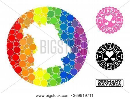 Vector Mosaic Lgbt Map Of Bavaria State From Round Elements, And Love Rubber Seal. Subtraction Round