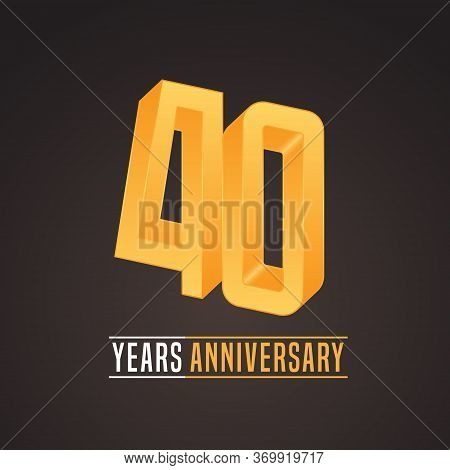 40 Years Anniversary Vector Icon, Logo. Isolated Graphic Number For 40th Anniversary