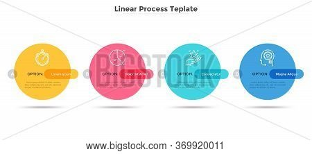 Four Colorful Round Elements Placed In Horizontal Row. Concept Of Business Plan With 4 Successive St