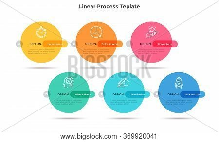 Six Colorful Round Elements Placed In Horizontal Row. Concept Of Business Plan With 6 Successive Sta