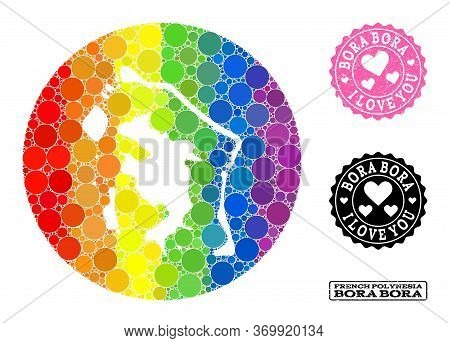 Vector Mosaic Lgbt Map Of Bora-bora With Round Blots, And Love Grunge Seal Stamp. Subtraction Round