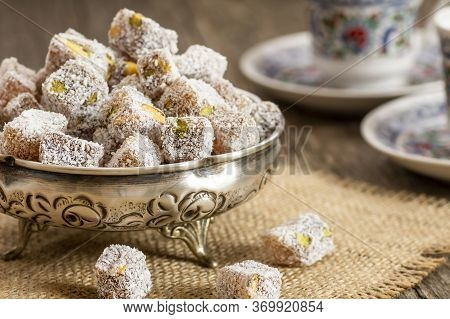 Turkish Delight In Hollowware And Turkish Coffee, Traditional Turkish Sweet Double Roasted With Pist