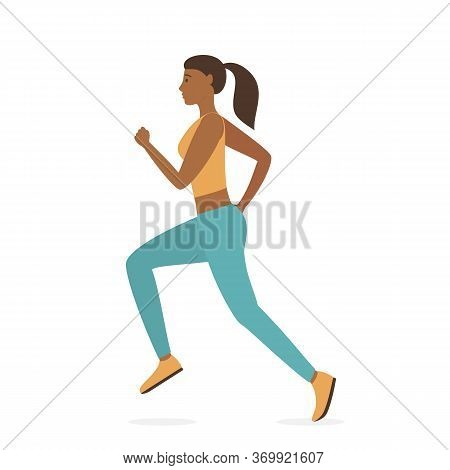 Jogging Girl Dressed In Sportswear Isolated On White Background. Sports Active Lifestyle Theme. Runn