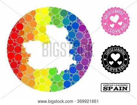 Vector Mosaic Lgbt Map Of Castile-la Mancha Province From Circle Elements, And Love Scratched Seal.