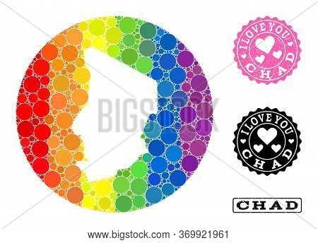 Vector Mosaic Lgbt Map Of Chad From Circle Elements, And Love Rubber Seal. Hole Round Map Of Chad Co