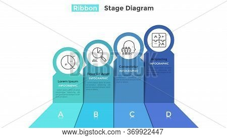 Ascending Chart With 4 Colorful Ribbons. Concept Of Four Development Stages Of Business Plan. Realis